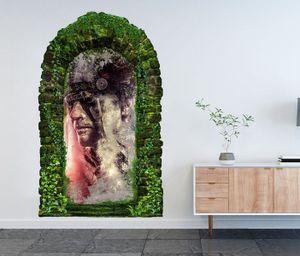 3D Wandtattoo Garten Tor Dschungel Indianer Häuptling Schmuck Feder Kopf Pflanzen Tür Gewölbe Wand Aufkleber Wandsticker 11FB320, Größe in cm:97cmx160cm