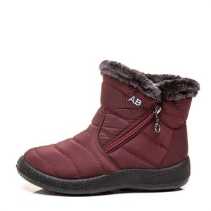 Damen Winter Schneeschuhe Warm und antiskid Seitlicher Reißverschluss Stiefel,Farbe: Rot,Größe:40