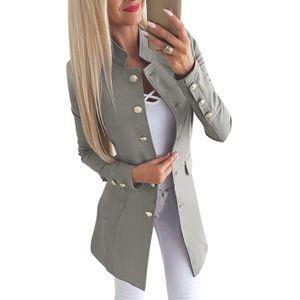 Mode Frauen Anzug Jacke Solide Taste Vorne Langarm OL Arbeit Damen Casual Slim Coat Oberbekleidung M
