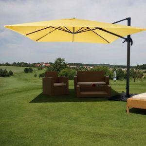 Gastronomie-Ampelschirm HWC-A96, Sonnenschirm 3x3m (Ø4,24m) Polyester Alu/Stahl 23kg  gelb mit Ständer