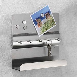 Edelstahl Schlüsselleiste mit Magnettafel + Ablage Schlüsselbord Schlüsselbrett