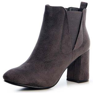 topschuhe24 1510 Damen Velours Stiefeletten Ankle Boots Schleife Fransen, Farbe:Grey Velours, Größe:37 EU
