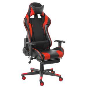 MECO Gaming Stuhl Belastbarkeit bis zu 150kg Ergonomisches Design Chefsessel Hoher Rücken Gaming Bürostuhl mit Fußstütze Farbe: Rot