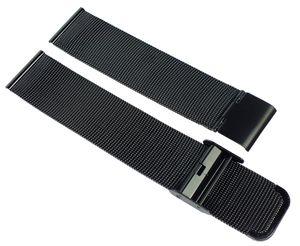 Minott > Uhrenarmband Edelstahl Milanaise schwarz Edelstahlband, Stegbreite:20mm
