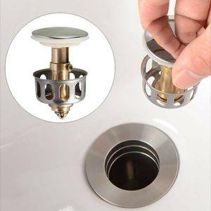 2 Stk Pop-Up Ablaufventil Ablaufgarnitur Waschbecken Waschtisch Abfluss Ventil Edelstahl Stöpsel Filter Sieb