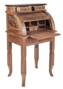 SIT Möbel Sekretär mit Rollladen | 4 Schubkästen | Teak-Holz natur | Platte kolonialfarbig | B 55 x T 41 x H 100 cm | 06253-34 | Serie SEADRIFT