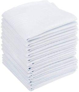 15PCS Herren Taschentücher Baumwolle - Stofftaschentücher 40 x 40cm Taschentücher Stoff Herren in weiß, Große Einstecktücher für Männer