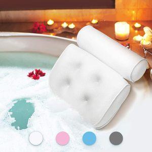 Badewannenkissen,Komfort badewanne kopfkissen mit Saugnäpfen, badewanne nackenpolste für Home Spa Whirlpools, Badekissen Kopfstütze (38 x 36 x 8.5 cm) (Weiß)