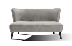 SIT Möbel Sofa 2-Sitzer | Samtbezug hellgrau | Beine Hevea-Holz schwarz | B 143 x T 77 x H 80 cm | 06037-21 | Serie SIT4SOFA