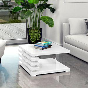 Selsey Couchtisch ARIENE - Wohnzimmertisch in Weiß Hochglanz, 60 x 60 cm