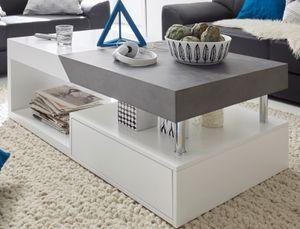 Couchtisch Hope in weiß matt Lack mit grau Stone Wohnzimmer Tisch ausziehbar mit Schubkasten 120 x 60 cm