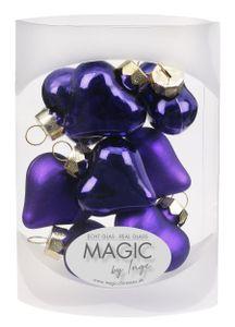 Christbaumschmuck Herz Glas 4cm, 8 Stück, Farbe:Mystic Violet ( violet / lila )