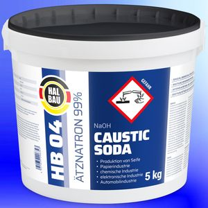 5kg HB04 Ätznatron, kaustisches Soda NaOH, Natriumhydroxid Reiniger Eimer