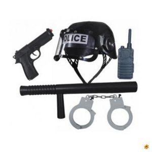 Set Police, Ausrüstung komplett Polizist Kinder, 5-teilig, Fasching, Karneval, Rollenspiel