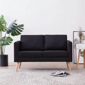 Sofa 2-Sitzer - Velours Stoff, Holzfüße, Couch 2-er, Loungesofa, Sofagarnitur, Polstersofa,Büro, Wohnzimmer , Schwarz