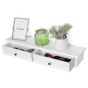 SONGMICS Wandregal weiß mit 2 Schubladen aus MDF 65 x 10 x 15 cm Wandschublade Schweberegal Wandschrank LWS65WT