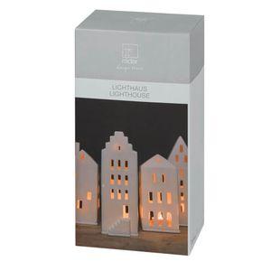 Räder Lichthaus Giebeldach Teelicht Windlicht aus Porzellan weiß