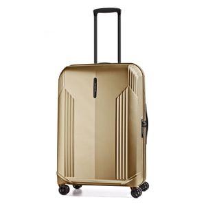 March 15 Reise Koffer New Manhattan Rollen Handgepäck Trolley 55 cm Braun Gold