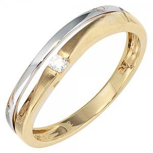 JOBO Damen Ring 333 Gold Gelbgold Weißgold teilmattiert 1 Zirkonia Goldring Größe 50