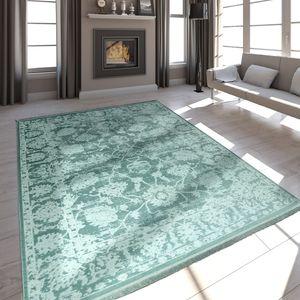 Hochwertiger Wohnzimmer Teppich Modern Satin Optik Barock Design Fransen Mintgrün, Grösse:80x150 cm