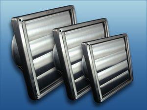 Edelstahl Lüftungsgitter mit beweglichen Lamellen : Ø100 150x150mm Größe: Ø100 150x150mm