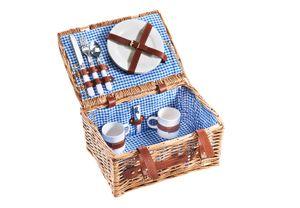 Picknickkorb Picknickkoffer -für 2 Personen- Weide - kariert blau - 36x27x18 cm