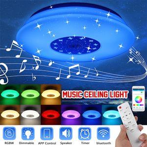 60W 110-220V Dimmbar LED Deckenleuchte Lampe bluetooth Lautsprecher Sternenhimmel Deckenlampe