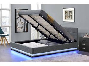 """Bett  LED """"Anastasia""""- 160 x 200 - Dunkelgrau"""