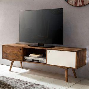 WOHNLING TV Lowboard REPA 140 cm Massiv-Holz Sheesham Landhaus 2 Türen & Fach   HiFi Regal braun / weiß 4 Füße   Fernseher Kommode Vintage
