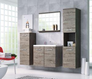 Badmöbel 4-Teilig Set MOLO Grau Eiche Farbe mit Waschbecken