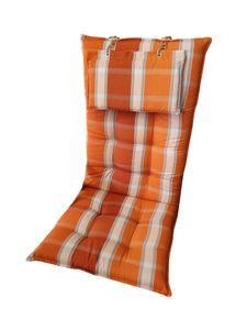 Sun Garden Monte Hochlehner-Auflage orange-weiß kariert Gartenmöbelauflage Auflage Sitzpolster Polster