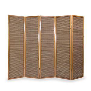 Homestyle4u 383, Paravent Raumteiler Trennwand Sichtschutz, 5 teilig, Braun, Holz Bambus