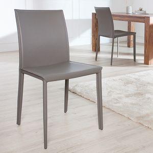 Moderner Design Stuhl MILANO grau hochwertiger Lederfaserstoff Esszimmerstuhl Küchenstuhl