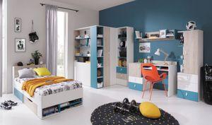"""Jugendzimmer Komplett - Set B """"Aalst"""", 6-teilig, Eiche / Weiß / Blau"""