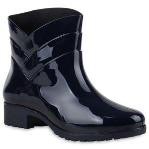 Mytrendshoe Damen Gummistiefel Profil Sohle Stiefel Regen Schuhe 812771, Farbe: Dunkelblau, Größe: 40