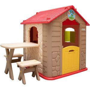 eyepower Kinderspielhaus mit Tisch und 2 Bänken Spielhaus aus Kunststoff für Jungen und Mädchen