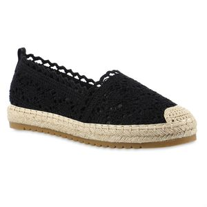 Giralin Damen Espadrilles Slippers Spitze Plateau Bast Profil-Sohle Schuhe 837619, Farbe: Schwarz, Größe: 37