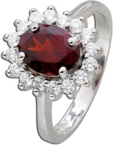 Edelsteinring Silber 925 roter Granat Zirkonia 20