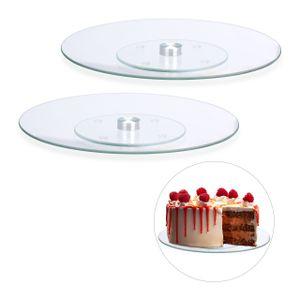 relaxdays 2 x Tortenplatte Kuchenplatte Tortenteller drehbar Drehteller 30 cm Glas