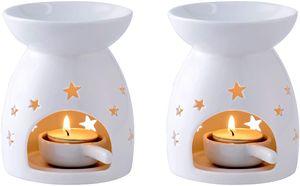 LOVECASA Duftlampe Keramik, Duftlampe mit Kerzenhalter- 2 teilige Aromalampe Teelichthalter mit der Löffel- große Wasserschale für Lange Brenndauer- Sterne Muster