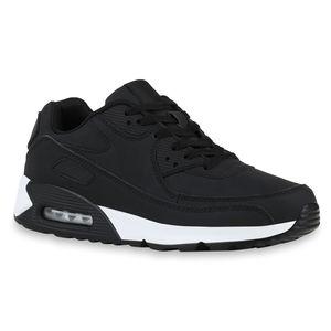 Mytrendshoe Herren Sportschuhe Laufschuhe Schnürer Freizeitschuhe Sneaker 831982, Farbe: Schwarz, Größe: 43