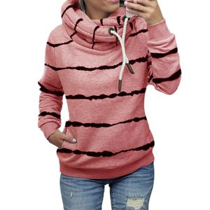 Damen gestreifter Hoodie lässiges Top-Sweatshirt,Farbe: Pink,Größe:M