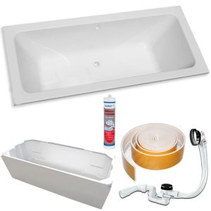 Koralle T200 Acryl Badewanne 180 x 80 cm weiß mit Träger + Ablaufgarnitur + Silikon + Wannenrandband
