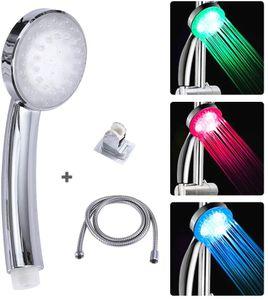 LED Duschkopf mit Schlauch, Handbrause Duschbrause 3 Farben Temperaturkontrolle Farbwechsel Und Halterung
