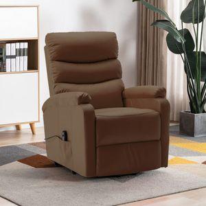 Sessel mit Aufstehhilfe Braun Kunstleder