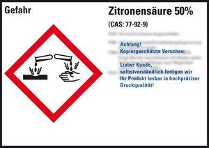 GHS-Etikett Zitronensäure 50% gem.GefStoffV/GHS/CLP Folie 148x105mm 4/Bogen
