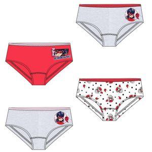 Miraculous - Kinder Unterhose Mädchen 4er Pack grau/rot/weiß 110/116