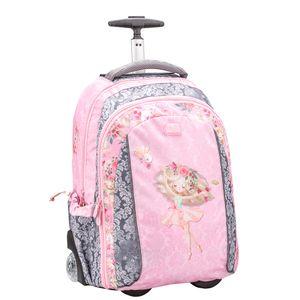 Belmil 2-in-1 Trolley Rucksack - Schultasche mit Rollend und Laptopfach für Kinder Mädchen/Rosa, Grau/Ballerina (338-45 Ballerina )