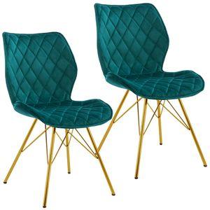 Duhome 2er Set Esszimmerstuhl Stoff Samt Petrol Blau Grün gesteppt Konferenzstuhl Vintage Design Stuhl Retro