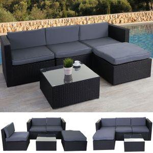Poly-Rattan-Garnitur HWC-D28, Gartengarnitur Sofa Set  anthrazit, Polster grau ohne Deko-Kissen/Abdeckung